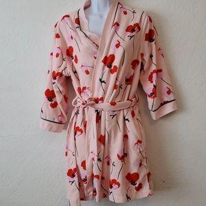 Kate spade Red Poppy short Fleece Tie Robe